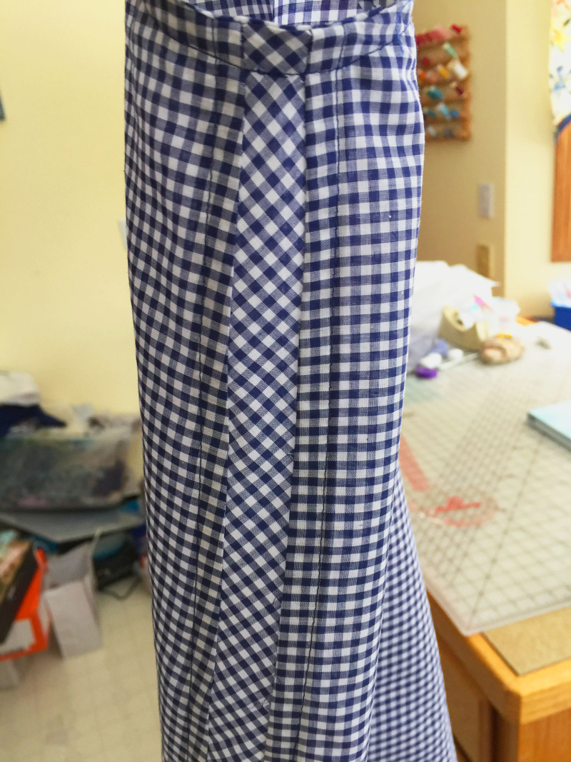 Blue gingham top side view