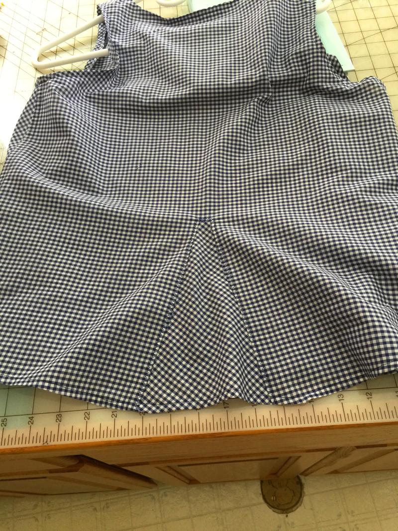Blue gingham top back insert